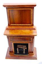 Vtg Dollhouse Miniature Artisan George Becker Fireplace Mantle Brass Andirons