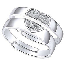 Heart Ring 14K White Gold Over Round Cut Cubic Zirconia Adjustable Couple