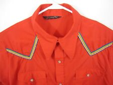 Vtg Corzini Western Country Shirt XXL Pearl Snap Red Rainbow Stripe Accent