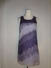 CHARMING CHARLIE Size M Purple Floral Print Sheer Overlay Sleeveless Tunic/Dress