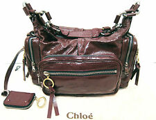 WOW Chloe Betty Red Wine Burgundy Patent Leather Chain Satchel Shoulder Bag Auth