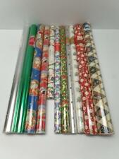 Christmas Wrapping Paper Rolls Lot 11 Snowman Tree Santa Foil Hanukkah Candle