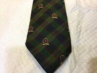 Vintage TOMMY HILFIGER Tie USA Silk Tie Plaid Tie Crest Navy Blue, Green, Red