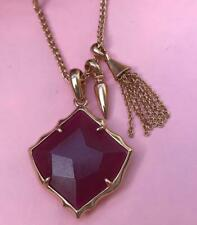 Kendra Scott Arlet Maroon Jade Charm Necklace In Rose Gold NWT