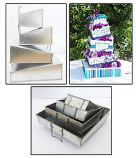 Set of 4 Tier Mini Topsy Turvy Square Multilayer Birthday Anniversary Cake Tins