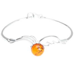925 Sterling Silver Genuine Baltic Amber Bangle Bracelet Free Gift Bag