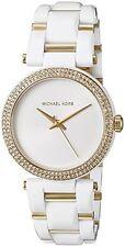 New MICHAEL KORS DELRAY Gold White Acetate Crystal Glitz Women's Watch MK4315