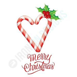 MERRY CHRISTMAS AND CANDY CANE LOVE HEART - IRON ON TSHIRT TRANSFERS - A6 A5 A4