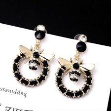 Crystal Bee Flower Statement Stud Enamel Drop Dangle Earrings Jewelry Gift