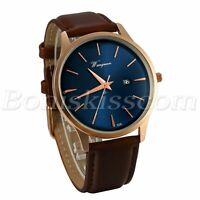 Men's Business Casual Charm Brown Leather Strap Date Quartz Analog Wrist Watch