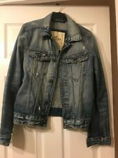 Mens Hollister Denim Jacket size small, distressed look, excellent condition
