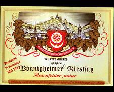 """ETIQUETTE ANCIENNE de VIN """"BONNIGHEIMER RIESLING"""" de WURTTEMBERG en 1959"""