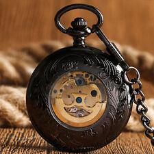 Retro Black Smooth Case Roman Numerals Self Wind Mechanical Pocket Watch Chain