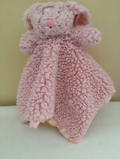 Stephan Baby Bunny Rabbit Security Blanket Lovey Pink Sherpa Satin