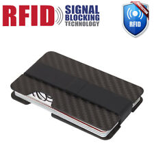 RFID Blocking Carbon Fiber Money Clip Slim Mens Minimalist Wallet ID Card Holder
