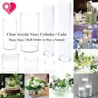Acrylic Cylinder Vase Clear Round Pillar Tower Plastic Cube Pot Centerpiece Bulk