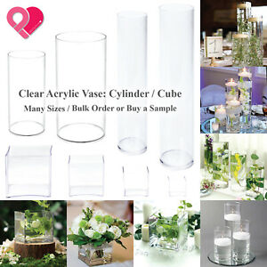 Acrylic Cylinder Vase Clear Round Pillar Tower Plastic Cube Pot Centerpiece Bulk