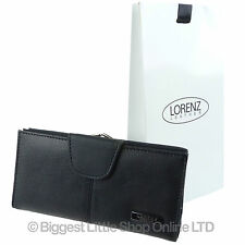 NEW Ladies LONG Black Cowhide LEATHER Clasp PURSE/Wallet by Lorenz FREE GIFT BAG