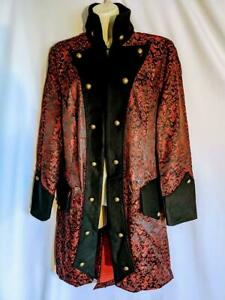 """Red and Black Vampire Halloween Jacket frockcoat gothic coat size M 40"""" - 42"""""""