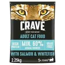More details for 2.25kg crave grain free natural adult dry cat food salmon & whitefish (3 x 750g)