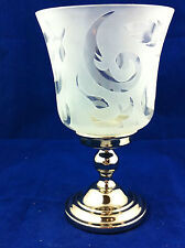 Frosted glass clear glass tealight candle holder tea lite silver tone leaves