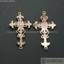 10Pcs Luxury Curved Side Ways Crystal Rhinestones Cross Bracelet Connector Beads