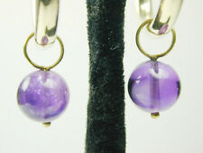 1988 Pair Round Dangling Purple CZ Hoop Earring Charms w/ 14k Solid Yellow Gold
