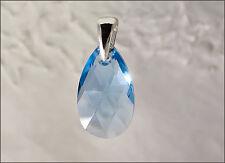 Pendentif goutte cristal Swarovski bleu argent 925/1000e PE09