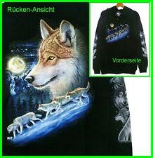 Sweat-Jacke Kapuze: Wolf Kopf Gr.M, Biker Western Country Indianer, Hoody Wölfe