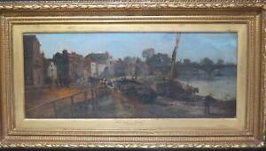 Kew Bridge Richmond London Circa 1880 Oil by Henry Stone RA River Thames