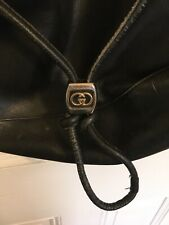 Vintage Gucci Black Leather Bag Satchel Messenger Crossbody, Damaged