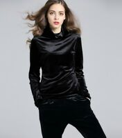 Womens Velvet T-shirt Turtleneck Slim Solid Color Long Sleeve Casual Blouse Tops