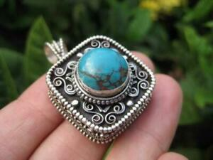 925 Silver Turquoise Compartment Locket Pendant Necklace Nepal Jewelry Art A8118