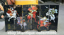 "18.5""China Lacquer Ware Hand Painting Five Generals Ladies Screen Folding Screen"
