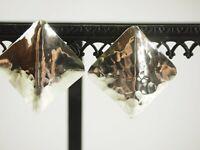 Classy Hammered Square Italian Art Modern Earrings Sterling Silver Post backs