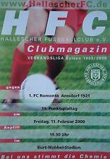 Programm 1999/00 HFC Hallescher FC - Romonta Amsdorf