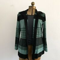 Exclusively Misook Black Green Stripe Open Front Long Cardigan Sweater Petite Lg