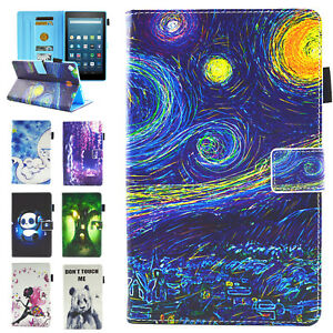 Slim Pattern Leather Folio Stand Cover Case for Amazon Kindle Fire 7 7th/5th Gen