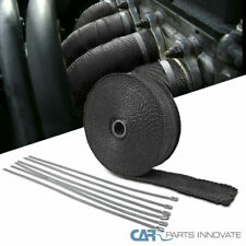 50' Black Fiberglass Exhaust Pipe Header Wrap With Ties For Car Motorcycle