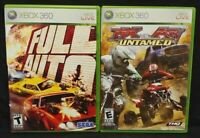 MX vs ATV Untamed + Full Auto Racing - XBOX 360 2 GAME Lot Tested + Complete