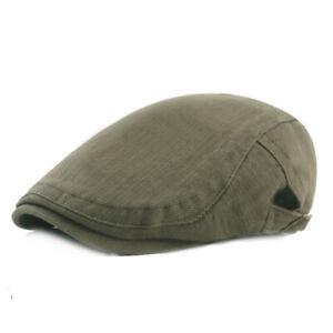 Men Casual Adjustable Solid Newsboy Hat Summer Caps Cotton Beret Flat Sun Cap