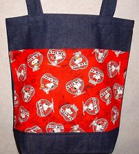 NEW Large Denim Tote Bag Handmade/w Snoopy Woodstock Hug Me Kiss Me Fabric