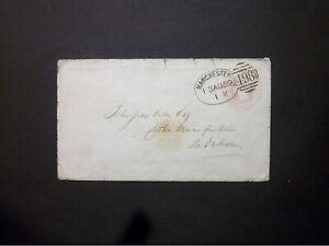 GB Lancashire Stationery STO 1859 QV 1d Envelope 498 MANCHESTER Spoon to Padiham