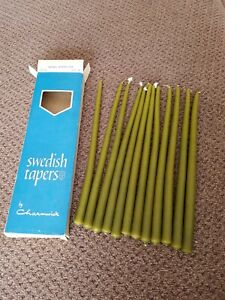 """Candle SWEDISH TAPERS  USA 1/2"""" X 10"""" 12 CANDLES CHARMWICK Moss Green"""
