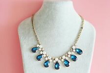 6J CREW SIGNED WHITE AND BLUE CRYSTAL BIB STATEMENT NECKLACE BIN