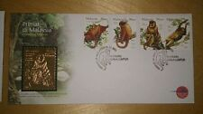 Clean Royal  Selangor GOLD plated Pewter Stamp FDC 2003 Malaysia Primates Primat