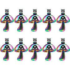 Bulk 10pcs! Rainbow Color Multi Color Mushroom Pearl Cage Pendant -C676