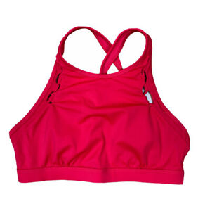Athleta Underwire Sports Bra 34 B/C Red Criss Cross Back Lace Straps S210979-04