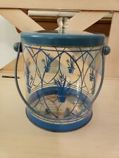 Vtg Wig Holder Storage Plastic Glass Wood Metal Blue Tulips