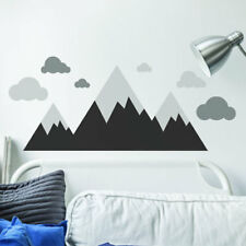 Monochrome Mountains and Clouds V2 Wall Art Sticker Decal Mural Kids Nursery